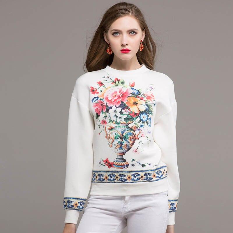 Nouvelle mode décontracté piste Designer vestes à capuche femmes de haute qualité Vintage Vase fleur imprimé hauts blancs pulls