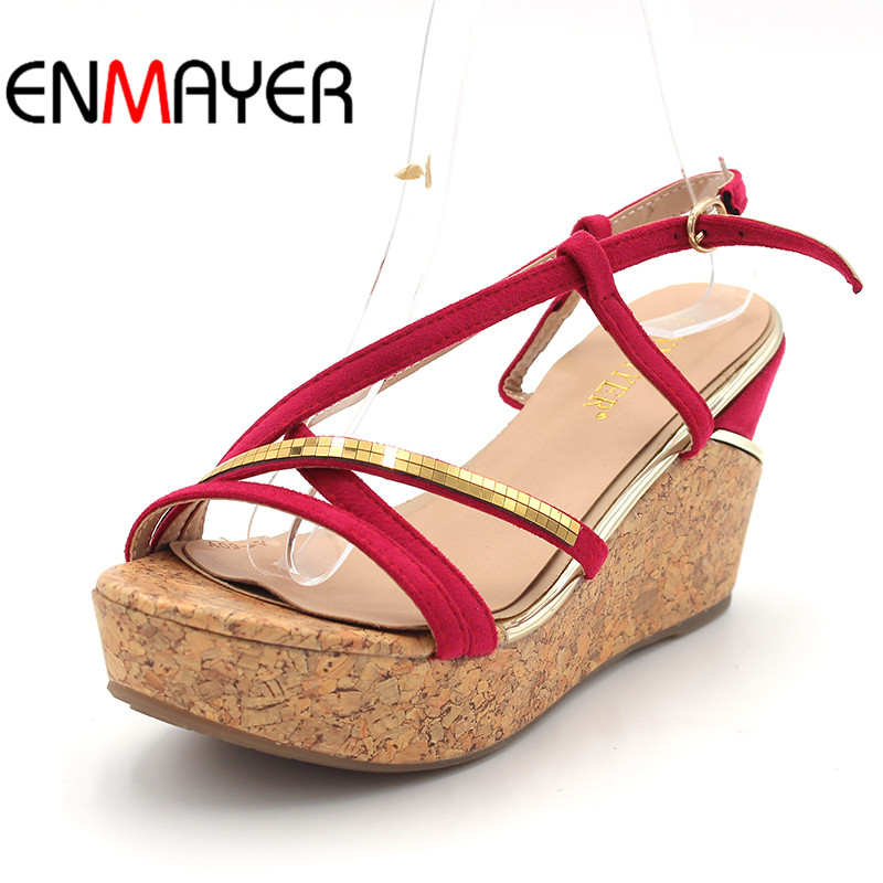 ENMAYER Women High HeelsShoes Woman Open Toe Buckle Strap Platform Summer Sandals Wedges Shoes Size 33-40 Classic Black Sandals mudibear women sandals pu leather flat sandals low wedges summer shoes women open toe platform sandals women casual shoes