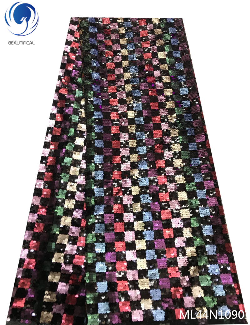 Beautifical African Sequins Lace Fabric Lace French Sequence Tulle Lace Nigerian Lace Fabrics For Wedding 5yards