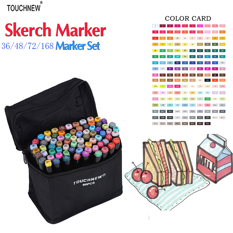 Touchnew 36/48/72/80 Colors Art Markers Pen Set Dual Head Sketch Markers Pen For Drawing Manga Markers Design Art Supplies touchnew 36 48 60 72 168colors dual head art markers alcohol based sketch marker pen for drawing manga design supplies