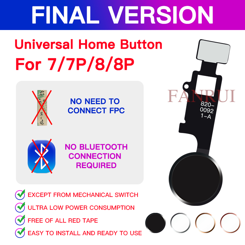 Design Universal Home Button No Touch ID For IPhone 7 8 7 Plus 8 Plus Flex Cable Restore Ordinary Home Button Return Functions