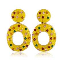 Ajojewel 2019 Round Earrings Women Colorful Rhinestone Statement Drop Earrings Enamel Pendientes Bohemia Jewerly Bijoux Femme red gray round colorful embroidery drop earrings