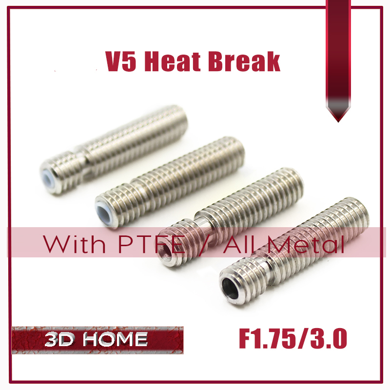 10Pcs Extruder 3D V5 Hotend Nozzle Throat Heat Break All Metal / With PTFE Pipe M6 M6 For 1.75/3.0mm Filament 3D Printer запчасти для принтера 3d printer accessories feed nozzle throat m6 20mm 10pcs 3d ultimaker 3 3d m6 20 3d printer feed throat ultimaker printheads for 3mm supplies