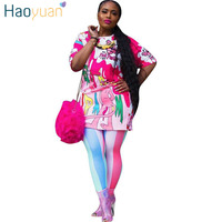 HAOYUAN Two Piece Set Short Sleeve Long Tops And Bodycon Striped Pants Suits Casual Tracksuit 2