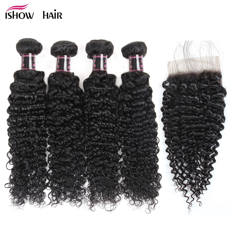 Ishow Brazilian Kinky Curly Bundles Human Hair With Closure 4*4 Free Part Non Remy Hair 4 Bundles With Closure Swiss Lace