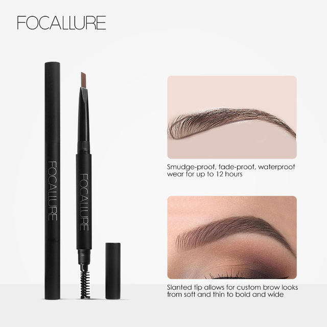 FOCALLURE New Waterproof 3 Colors Eye Brow Eyeliner Eyebrow Pen Pencil with Brush Makeup Cosmetics Tools 3