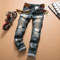 Mens jeans Runway Biker jeans hip hop elástico pantalones vaqueros del agujero pantalones vaqueros lavados de los hombres moda casual y cómodo desgaste