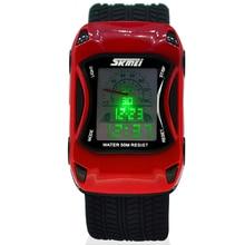 Цвета дети Часы силиконовые желе Водонепроницаемый Плавание Спорт Наручные часы для детей автомобиль Стиль светодиодный цифровой мультфильм часы для мальчика