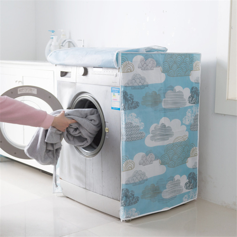 Top/Front Road Printing PEVA Sunscreen Dust Proof Cover Washing Machine Cover Waterproof Case Washing Machine Protective Dust