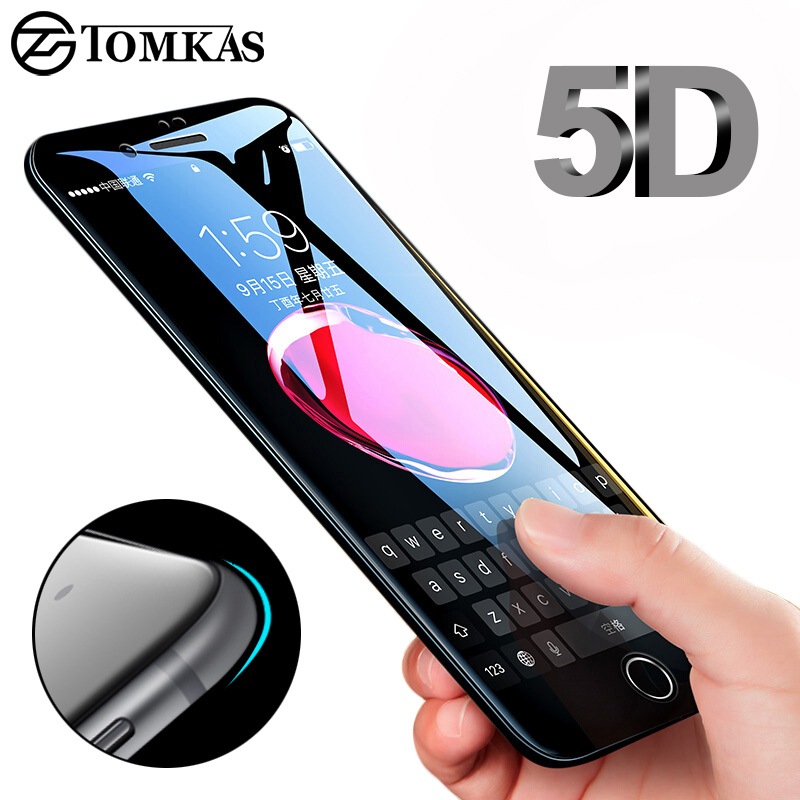 TOMKAS 5D Edge herdet glass til iPhone 7 8 Plus Full omslag rund skjermbeskytter beskyttende for iPhone 6 7 Plus X Glass
