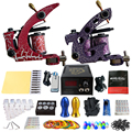 Solong Tattoo Pro Tattoo Kit 2 Rorary Tattoo Machine Gun Power Supply 1 Practice Skin Dual-sided Re-usable One Set TK202-39
