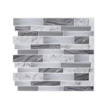 Peel and stick wall tile white gray marble mosaic adhesive stickers DIY kitchen bathroom house sticker decal viny-1 sheets