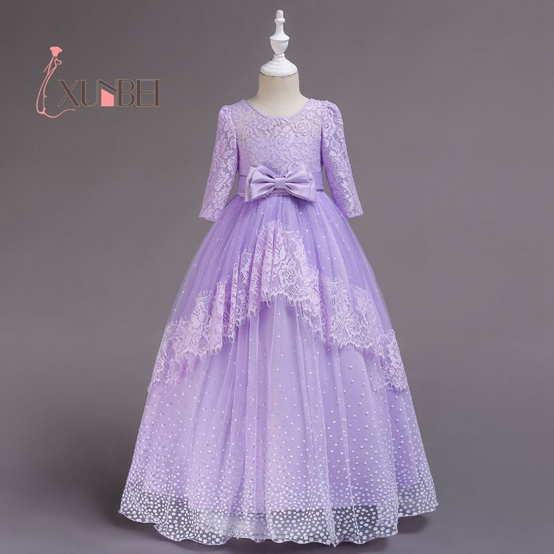 Princess long sleeves pink purple lace flower girl dresses 2018 princess long sleeves pink purple lace flower girl dresses 2018 floor length a line girls pageant dresses first communion dress mightylinksfo