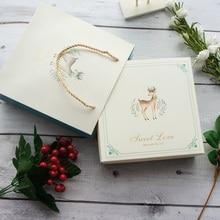 18.5*18.5*6cm 3set winter light blue elk design Paper Box + bag as Cookie candy Chocolate handmade Gift Sweet Christmas use