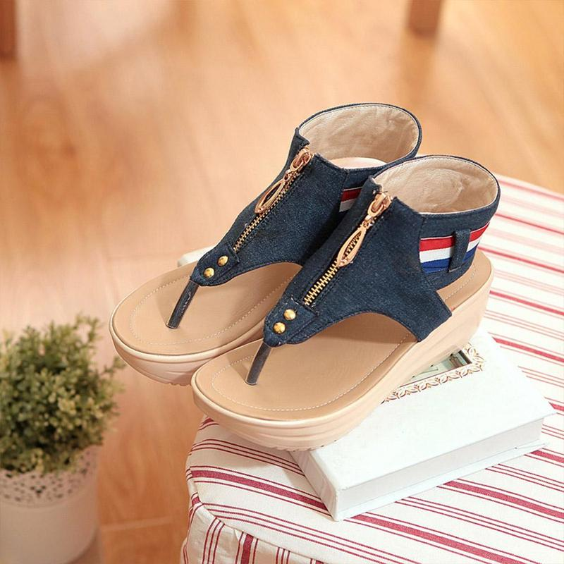 Wedges Shoes For Women High Heel Summer Ladies Gladiator Sandals Woman Platform Cowboy Zipper Sandalias Mujer 2018 hj98 11