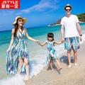 Igualar Padre Madre Bebé Ropa Vestido Maxi Colorido de La Madre Padre Hija Hijo Cortocircuitos de la Playa de La Familia T-shirt Ropa A Juego