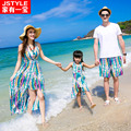 Matching Father Mother Baby Clothing Daughter Mother Colorful Maxi Dress Father Son Beach Shorts T-shirt Family Matching Clothes