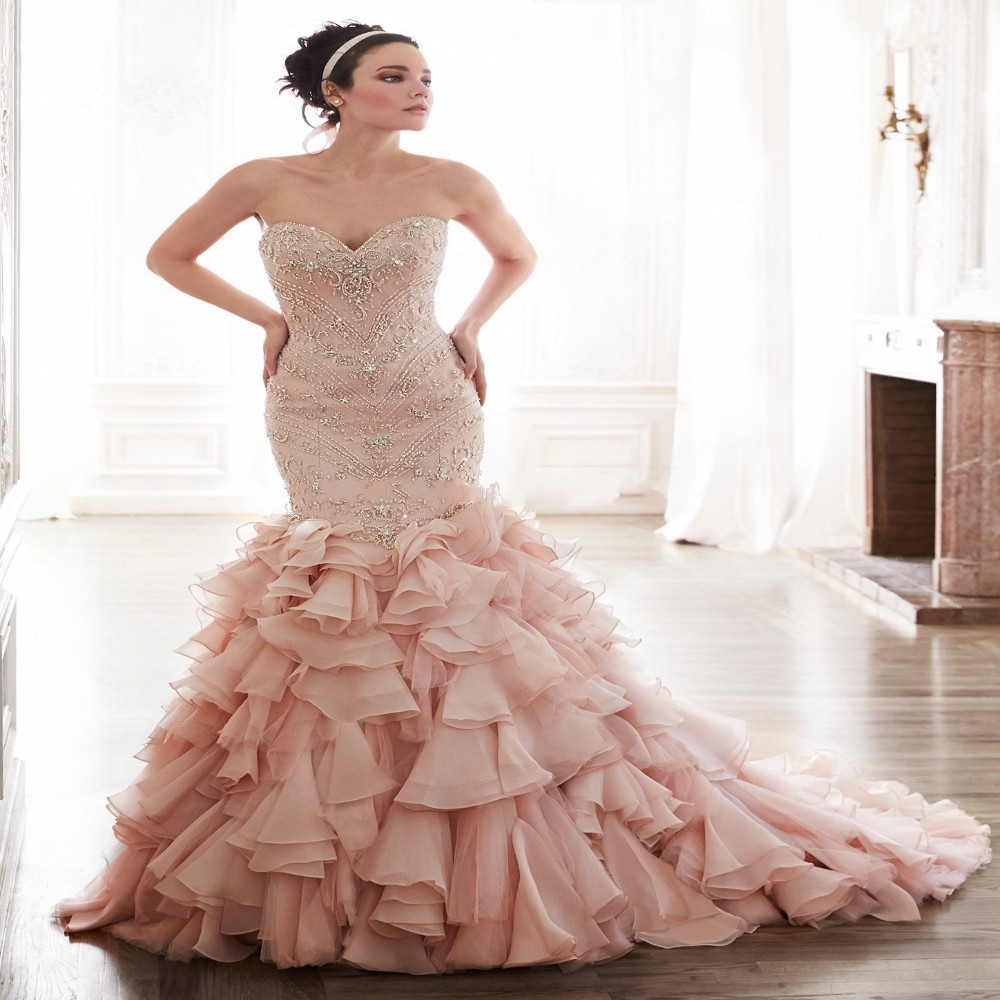 Wedding Gowns With Ruffles: New Arrival Luxury Beaded Blush Pink Mermaid Wedding Dress