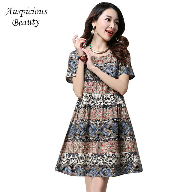 dfac80416d8e 2018 Summer New Women s Dress Fashion Print O-neck Indie Folk Dress Women s  Clothing Female