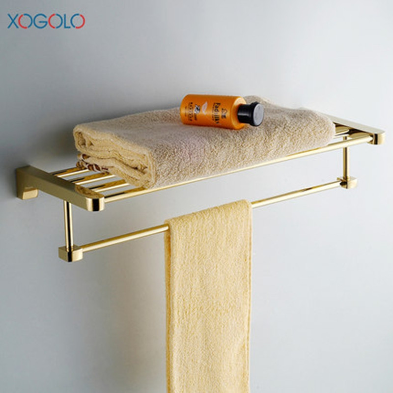 Xogolo Solid Copper Gold-Plated Double Layer Modern Romantic Wall Mounted Bathroom Towel Rack Holder Accessories xogolo solid copper bathroom bath towel shelf lavatory rack holder double layer towel bar accessories 8766 polished chrome