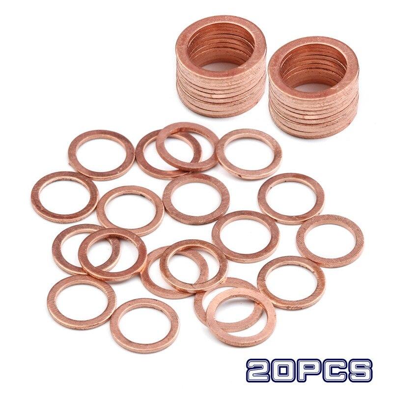 20 unids/set arandelas de aplastamiento de cobre sólido 10*14*1mm tapón de sello de aceite herramientas accesorios para coche camión vehículos accesorios de sujeción