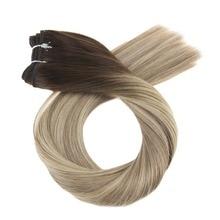 Moresoo Омбре Волосы Уток 100 г блонд настоящие волосы Remy пучки бразильских локонов полный набор волос для наращивания