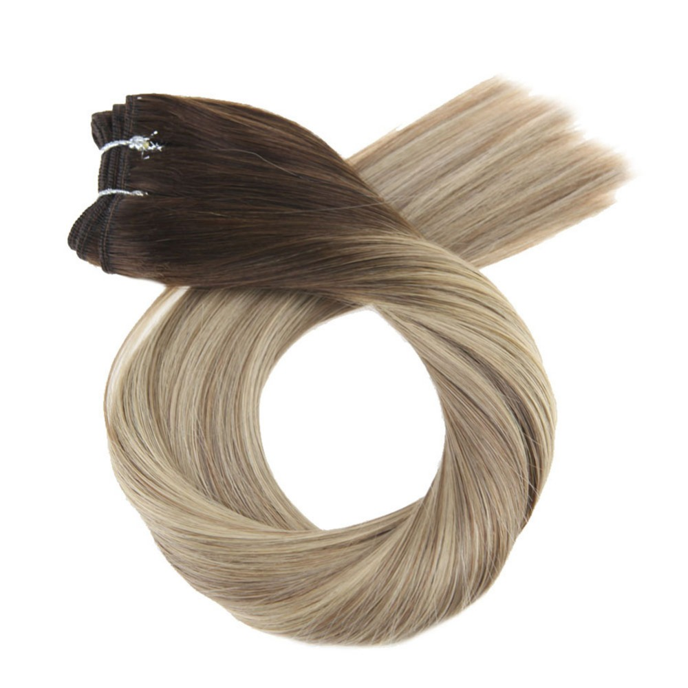 Moresoo Ombre Hair Weft 100G Blonde 100% Real Remy Human Hair Bundles Brazilian Hair Full Head Set Hair Extensions