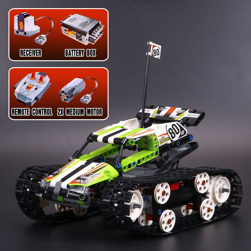 Lepin 20033 397pcs Technic Series The RC Track Remote-control Race Car Set LegoING 42065 Educational Building Blocks Bricks Gift lepin 23013 genuine technic series the remote control off road car set 2314pcs building kits blocks bricks legoing gifts