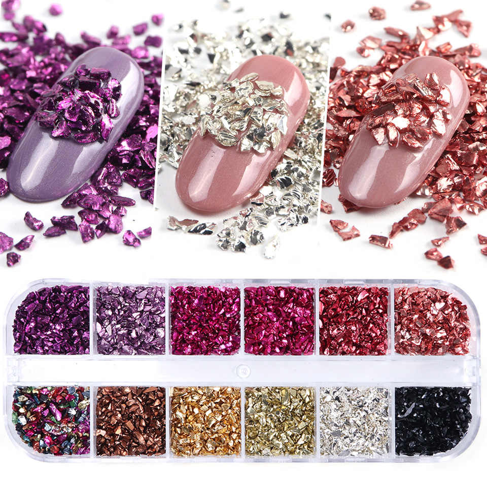 3D Irregular Stones Flakes Nail Art Rhinestones Glitter Sequins Rose Gold Studs Beads Nail Crystals Diamonds Decorations TRBLB/S