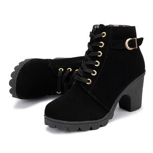 Image 4 - Di alta Qualità Lace up scarpe delle signore della donna DELLUNITÀ di elaborazione di moda in pelle stivali alti talloni delle donne 2020 nuovo autunno inverno delle donne caricamenti del Sistema della caviglia
