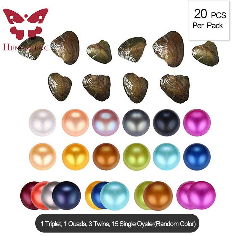 HENGSHENG 20 PCS ผสมสีเดี่ยวฝาแฝด Triplet Quads 6.5 7 มม. รอบเกือบ Pearl หอยนางรม (multicolor)-ใน ลูกปัด จาก อัญมณีและเครื่องประดับ บน AliExpress - 11.11_สิบเอ็ด สิบเอ็ดวันคนโสด 1