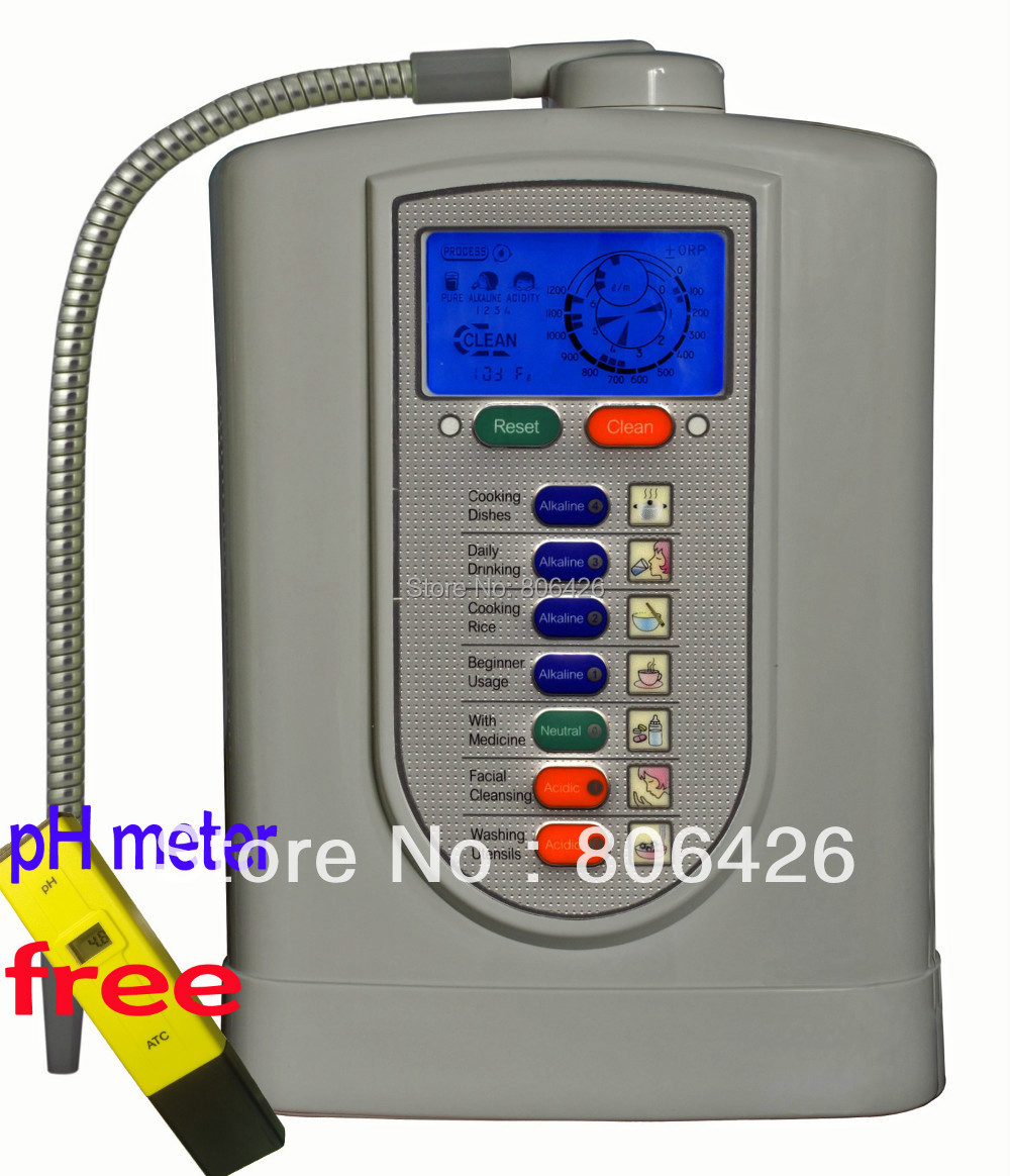 FreeShipping Kangen/ionizador de água alcalina/água catódica/ionic/água de hidrogênio (JapanTechTaiwan fato) filtro embutido NSF + Medidor de pH