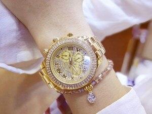 Image 3 - 2019 nova mulher strass relógios senhora vestido relógio feminino diamante marca de luxo pulseira relógio de pulso senhoras cristal quartzo relógios