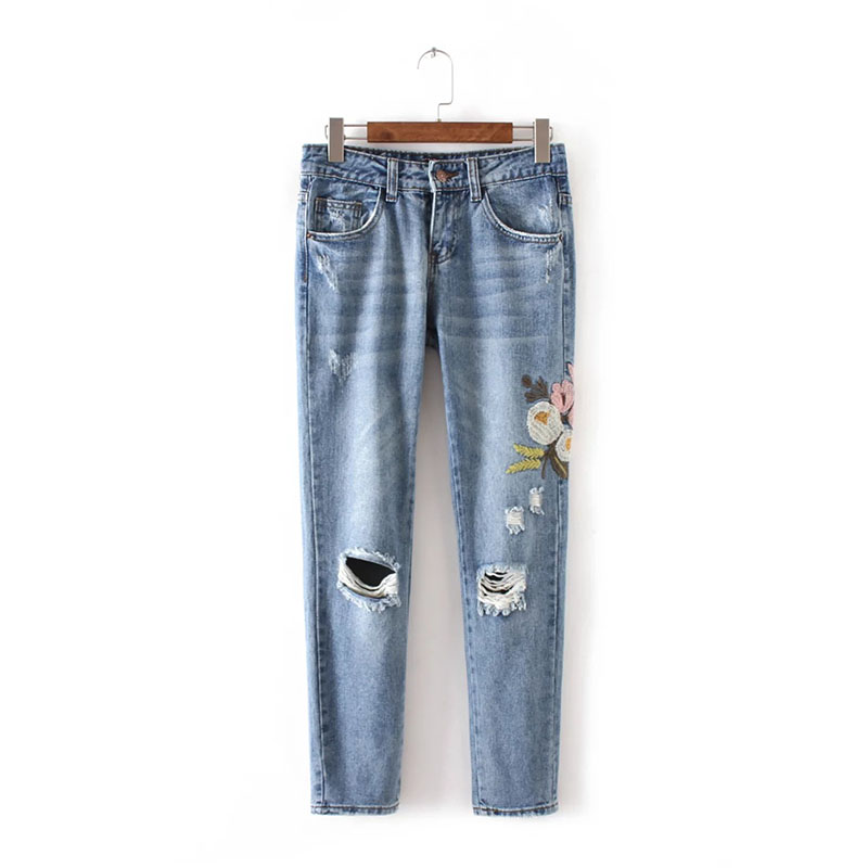 Light Blue Denim Jeans Pants  Christmas Embroidery Ripped Jeans Female Straight Low Waist Jeans Women Bottom flower embroidery jeans female blue casual pants capris 2017 spring summer pockets straight jeans women bottom a46