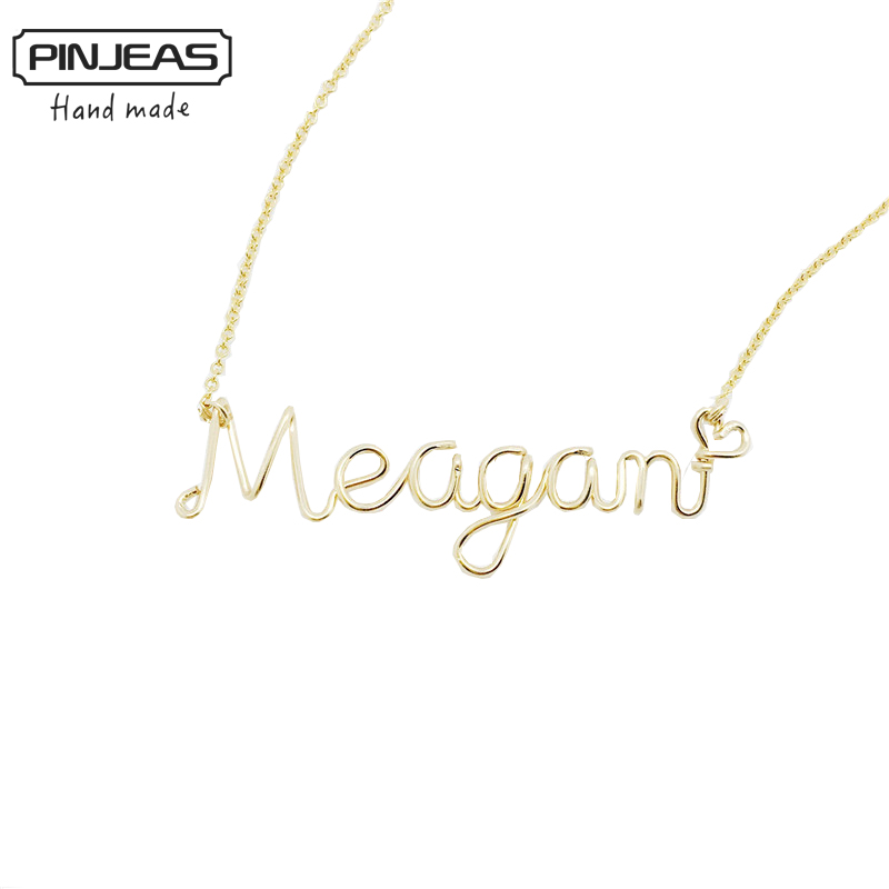 pinjeas custom name necklace personalized words letters wire wrap kids bridesmaid gift collier
