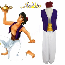Adult Men Aladdin Costume Halloween Anime Cosplay Fancy Dress Lamp Prince Adam Costumes With Vest Pants