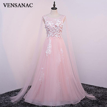 VENSANAC Crystal O Neck Flowers Appliques A Line Long Evening Dresses 2018 Elegant Lace Backless Party Prom Gowns