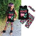 3 UNIDS Niño Niños Ropa de los Bebés de Algodón Sin Mangas de la Historieta de la Sirena Trajes de Tapas de la camisa + Pantalones + de La Venda de Pelo sistemas de la Ropa