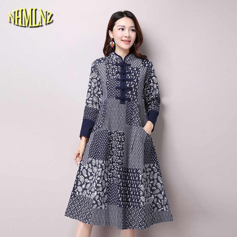Autumn New Medium long Women Retro Elegant Dress Women ...