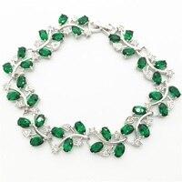Tree Leaf Shaped Sterling Silver Bracelet For Women White Topaz Emerald Green Tanzanite Sapphire Jewelry Free