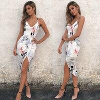 Slip Skirt Women Floral Print Sexy Bodycon Strap V Neck Sleeveless Split Sun Skirt 2017 Summer