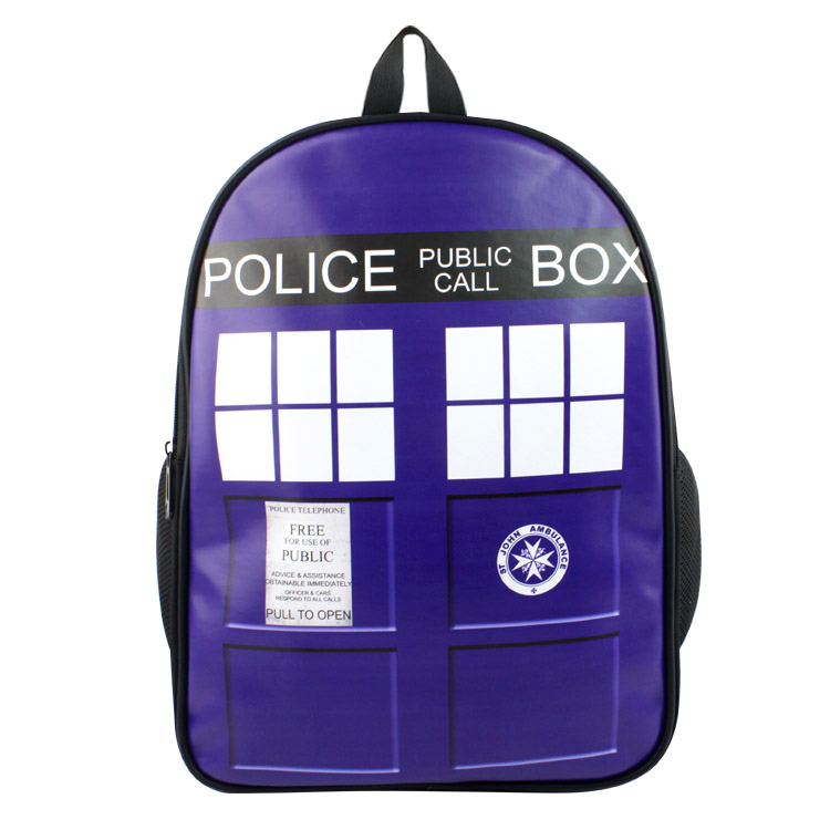Anime Doctor Who PU & Canvas Colorful Laptop Backpack Travel Double-Shoulder Bag School Bag