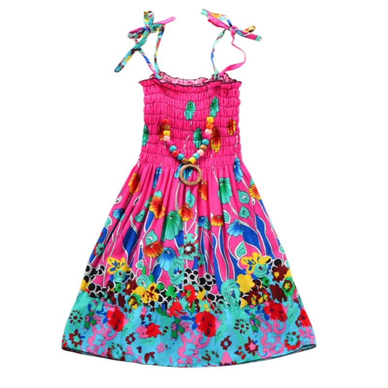 Boho Style Flower Girls Dress Summer Holiday Beach Baby Dress Clothing Bohemian Cotton Dresses 3-12y