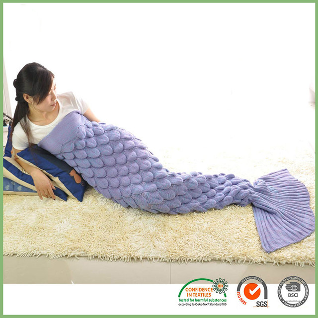 2016 Mermaid Tail Navidad Adulto Manta de Ganchillo