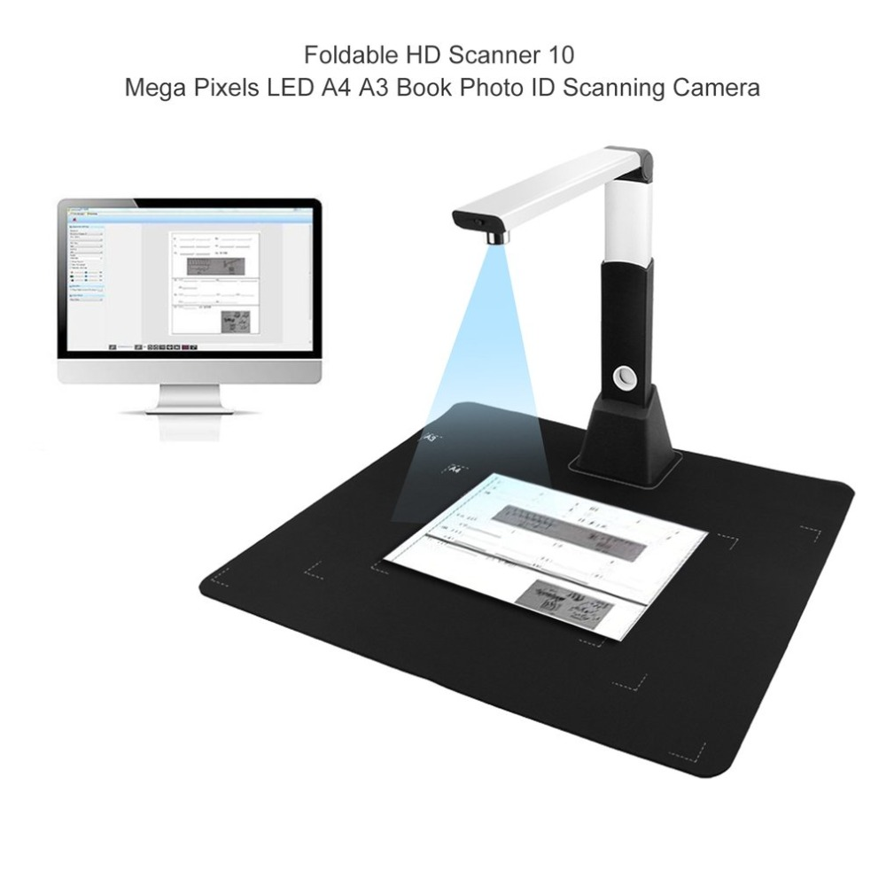 Multifunctional Foldable HD Scanner 10 Mega Pixels LED A4 A3 Document Book Photo ID Scanning Camera w/OCR Machine document scanner 8 0 mega pixel a4 large format 24 bit usb 2 0 360 degree wide angle lens led ocr timing shoot fast copy
