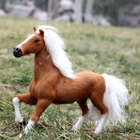 simulation animal 21x20CM horse model furry toy handicraft decoration,baby toy, car accessories A600