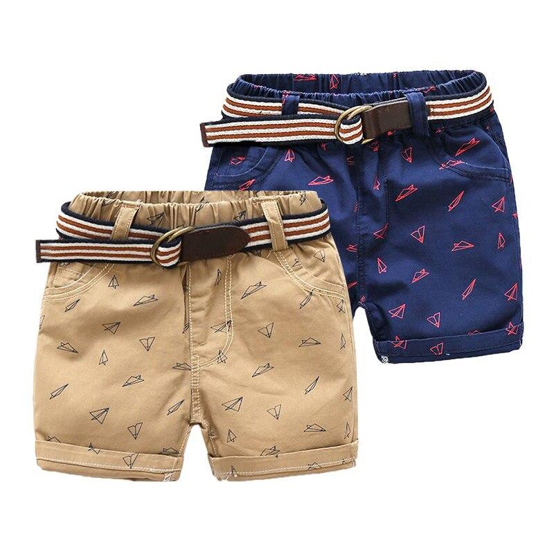 Jungen Kleidung Jungen Shorts 2018 Marke Neue Sommermode Kinder Kleidung Papier Flugzeug Druck Shorts Casual Jungen Hosen Mit Gürtel Hosen