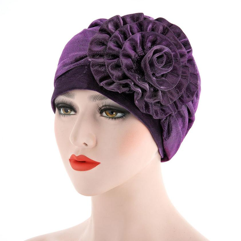 2019 Fashion Cute Floral Ruffle Stretchy Turban Cap Beanie Head Wrap Chemo Muslim Cap Hair lLoss Hat Women India Hat Popular