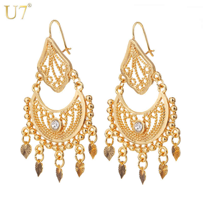 U7 Ethnic Earrings Indian Jewelry Classic Dangle Party Gift Silver Gold Color Rhinestone Tassels Drop Earrings For Women E3030