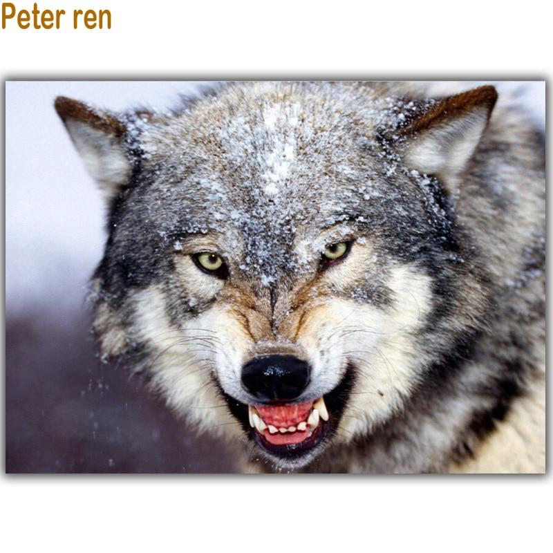 Diamantbroderi Snövarg Diy Diamantmålning Korsstygn Animal Full - Konst, hantverk och sömnad